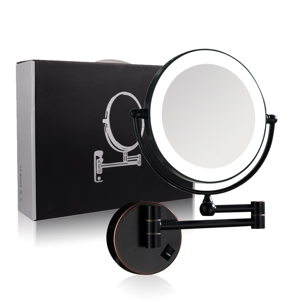 GURUN Oil-Rubbed Bronze Wall Mounted Makeup Mirror LED Light with 7x Magnification, 8-Inch Two-sided Swivel, Plug powered M1805DO(8in,7x)