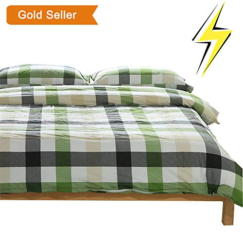 OTOB Colorful Green White Checkered Plaid Bedding Set for Kids Adults 3 Piece Lightweight Grid Gingham Washed Cotton Duvet Cover Sets with Pillow Shams, Reversible(Twin, Green)