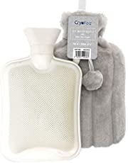Large Luxury Hot Water Bottle with Faux Fur Cover 2L, Cosy Bed Warmer & Soft Bag Cover by Cryopaq