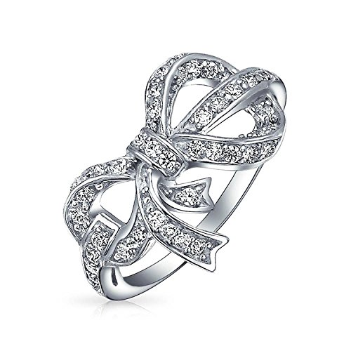 Pave CZ Ribbon Bow Open Sterling Silver Ring
