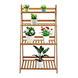 potted herb garden Lucky Tree 4 Tiered Plant Stand Bamboo Folding Ladder Potted Holder Display Shelving Indoor Flower Organizer Shelf Rack Outdoor Patio Lawn Garden Balcony