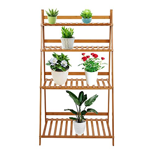 Lucky Tree 4 Tiered Plant Stand Bamboo Folding Ladder Potted Holder Display Shelving Indoor Flower Organizer Shelf Rack Outdoor Patio Lawn Garden Balcony