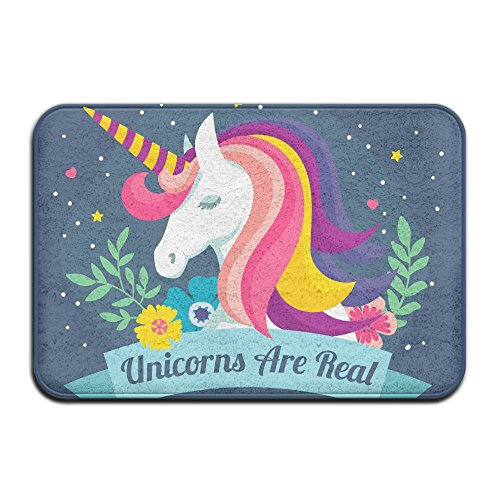 Colorful Unicorn Outdoor Rubber Doormat For Front Door Duty Outside Shoes Scraper Floor Door Mat For Porch Garage High Traffic Non Slip Entrance Rug Low Profile Soccer Ball Carpet Home Decor 40x60cm