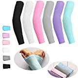 AoOnZan 6 pairs Cooling Arm Sleeves Cover UV Sun Protection Armband Basketball Golf Athletic Sport Running Compression Sleeve