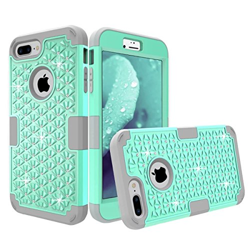 "iPhone 7 Plus Case, Welity 3 in 1 Hybrid Armor Bling Crystal Rhinestone [Hard Cover + Soft Silicone] High Impact Protective Case Cover for Apple iPhone 7 Plus 5.5"", Mint & Grey"