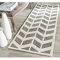Safavieh Chatham Collection CHT746D Handmade Dark Grey and Ivory Premium Wool Area Rug (23 x 5)