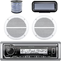 Kenwood Marine Bluetooth Radio  In-Dash Boat Audio Receiver Bundle with Pair of Enrock 6.5 Dual-Cone Stereo Speakers, Stereo Waterproof Cover, 18g 50ft Marine Speaker Wire (White)