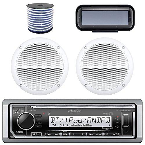 Kenwood Marine Bluetooth Radio  In-Dash Boat Audio Receiver Bundle with Pair of Enrock 6.5