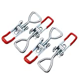 ERTIANANG 4pcs/set Spring Loaded Toggle Latch Catches Case Box Adjustable Latch Catches Hasp Lock Durable Galvanized Iron Silver