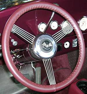 product image for Wheelskins WS10216X Genuine Leather Burgundy Size AX Steering Wheel Cover