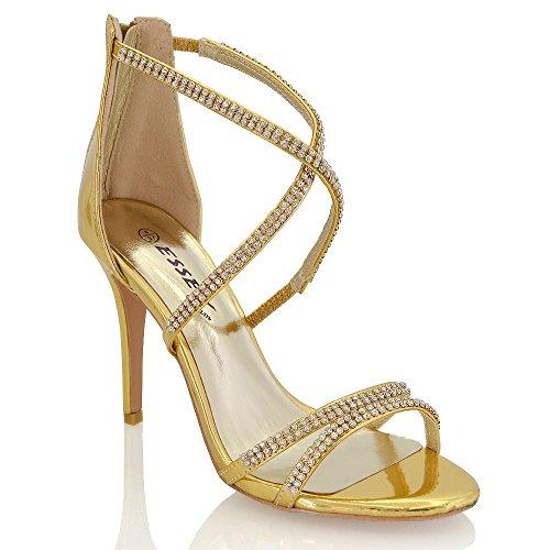 ESSEX GLAM Womens Stiletto High Heel Diamante Strappy Ladies Party Bridal Sandals Shoes Gold Metallic 6SeIgQ