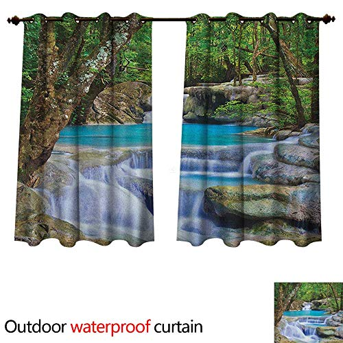 Anshesix Waterfall Outdoor Curtain for Patio Fairy Image of Asian Waterfall by The Rocks in Forest Secret Paradise W120 x L72(305cm x 183cm)