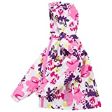 Happy childhood Big Girls Winter Fleece Hoodie Jacket Coat Warm Outdoor Windbreaker Waterproof Rain Jacket Floral Outfit White XL