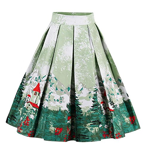 Women Vintage Floral Midi Skirts High Waist Pleated A-Line Skirts(XL) from FTVOGUE