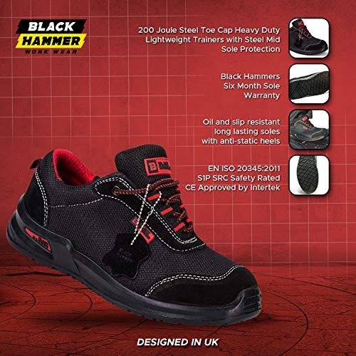 Botas para Hombre De Seguridad Puntera De Acero Zapatos De Trabajo Tobillo Suela De Protección Media Unisex-Adulto S1P CE Aprobado 4482 Black Hammer: ...