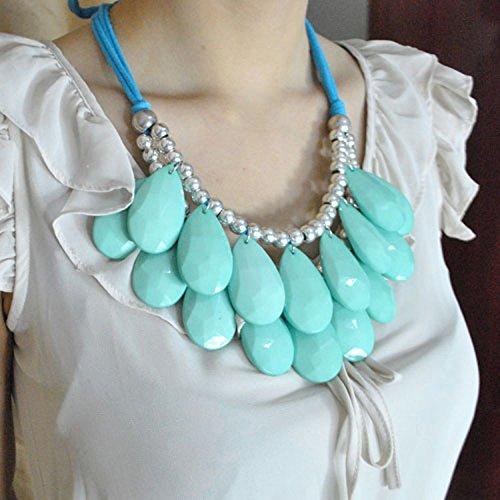 Dragonpad® Long Ribbon Water-drop String of Big Resin Beads Short Neclace ()