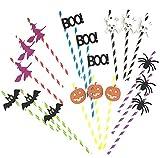 Astra Gourmet 60-Pack Halloween Paper Straws, Pumpkin Ghost Skeleton Bat Spider Drinking Straw for Halloween Party£¨6 pattern)
