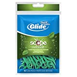 Oral-B Complete Glide Dental Floss Picks Plus Scope Outlast, Long Lasting Mint, 75 Dental Floss Picks, (Pack of 6)