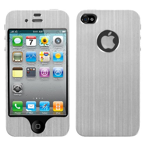 MyBat Brushed Metal Decal Shield Diamante Phone Protector Cover for Apple iPhone 4S/4 - Retail Packaging - Silver from MyBat