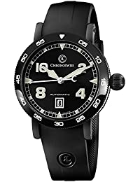 Time Master Mens Black PVD Case Date Black Face Black Rubber Strap Swiss Automatic Watch CH-8645