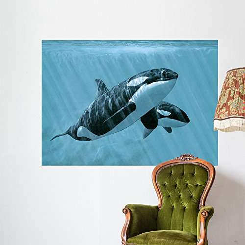 Wallmonkeys Mother and Son Orcas Wall Mural by Ron Parker (60 in W x 43 in H) -