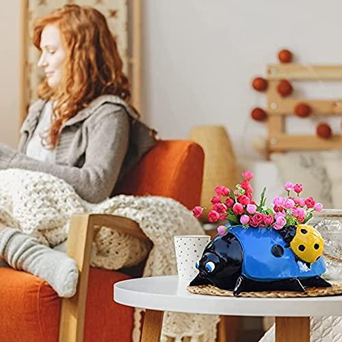 Mortilo Garden Decoration Flower Pot, Garden Sketches Simulation Animal Ladybugs, Colorful Decorative Outdoor Garden Yard Lawn Decor Flower Pot Resin Garden Decorations (A-Bule15X10X5cm)