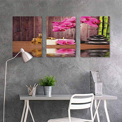 HOMEDD Art Original Oil Painting Sticker,Spa Spa Flower and Water Reflection Aromatherapy Bamboo Blossom Candlelight Print,for Home Decoration Wall Decor 3 Panels,24x35inchx3pcs Pink Green Umber