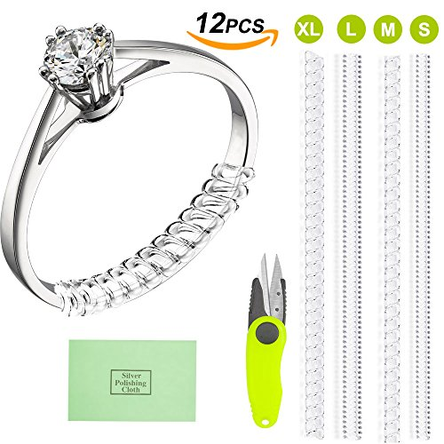 Ring Size Adjuster Jewelry Guard (12 rings,4 Sizes) with Polishing Cloth Instruction for Loose - Skins Size Mens Chart