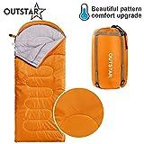 sleeping bag - OUTSTAR Lightweight Waterproof Envelope Sleeping Bag With Compression Sack for Kids or Adults Outdoor Camping, Travelling, Hiking & Backpacking (Orange, Envelope)