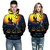 Men Women Mode 3D Print Autumn Winter Casual Long Sleeve Halloween Couples Hoodies Top Blouse Shirts Outwear (4XL, Yellow)