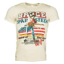 Mens Beige 85 US Tour Bruce Springsteen T Shirt
