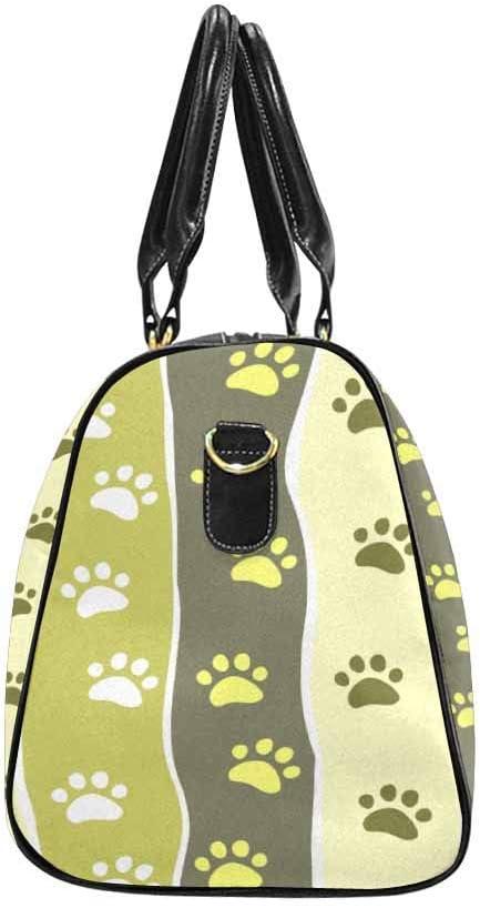 InterestPrint Unisex Duffel Bag Carry-on Bag Overnight Bag Weekender Bag Paw Striped