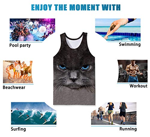 SKYRAINBOW Tank Top Sport Gym Tees Athletic Training Vest Novelty Night Cat Sleeveless Garment for Men Black
