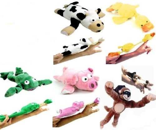- Set of 5 of Slingshot Flingshot Flying Animals with Sound Monkey Pig Cow Duck Frog