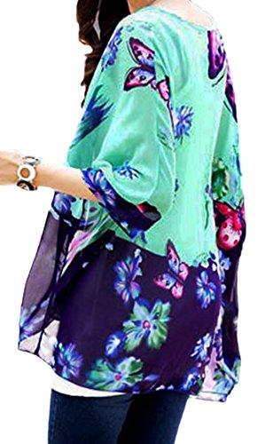 erdbeerloft - Kaftan Tunika mit Blumen - Schmetterlings Print im Batwing Look, Größe One Size M-XL, Türkis