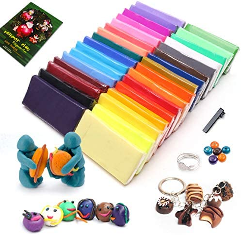 Pugimtoy Modeling Clay Kit for Kids32 Colors Oven Baked Clay for Sculpting Neutral Color DIY Polymer Clay Tools and Suppiles Non-Toxic Clay for Kids Ideal DIY Clay Crafts for Age 3-12 Boys Girls