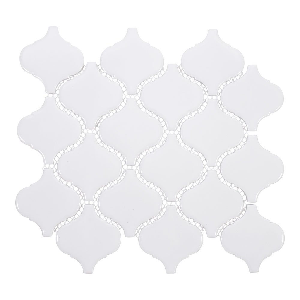 White Porcelain Arabesque Tile by Giorbello - Case of 18 Sheets (13.4 sq. ft.) by Giorbello