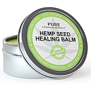 Best Eczema Cream & Psoriasis Treatment + FREE BONUS EBOOK - Organic Hemp Seed Healing Balm Anti Itch Cream Relief for Baby, Dry or Cracked Skin, Face, Scalp, Hands & Feet - 4 fl. oz