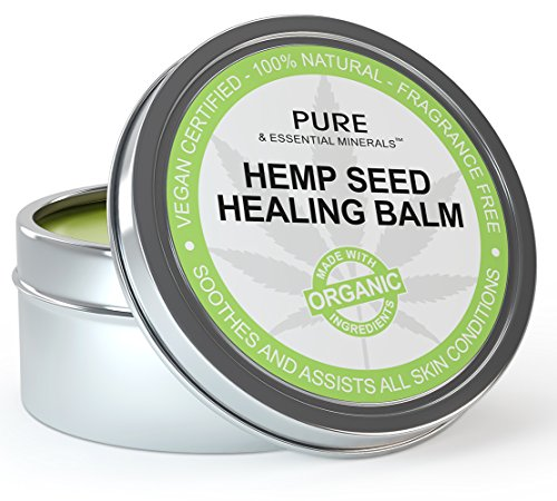 Organic Hemp Seed Oil Cold Pressed Healing Cream, New Improved Formula for Eczema, Psoriasis, Pain, Rash, Jock Itch, Organic Aloe Vera, Coconut, Tamanu, Lavender, Tea Tree Oils 2 ounces (Best Over The Counter Steroid Cream)