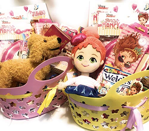 Disney Fancy Nancy Holiday Easter Gift Basket OR Birthday Basket - Candy, Stickers, Coloring Book, Plush –16 Pieces ()
