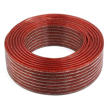 eDealMax 75M Largo Calibre 6 AWG núcleo de cobre altavoz Audio Cable de alambre Beige Rojo