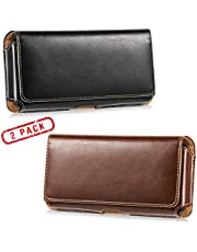 2 Pack Horizontal Leather Cell Phone Holster - LUXMO Genuine Leather Belt Clip Holster Pouch Carrying Cover Case for iPhone 8 Plus/ 7 Plus/Galaxy Note 9/ S10 Plus/ S9 Plus/ S8 Plus (Black + Brown)