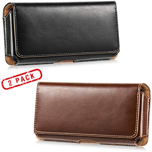 2 Pack Horizontal Leather Cell Phone Holster - LUXMO Genuine Leather Belt Clip Holster Pouch Carrying Cover Case for iPhone 8 Plus/ 7 Plus/Galaxy Note 9/ S10 Plus/ S9 Plus/ S8 Plus (Black + Brown) ()