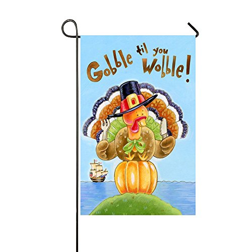 Small Mim Gobble Til You Wobble Thanksgiving Turkey Humor Holiday Garden Flag Holiday Decoration Double Sided Flag 12.5