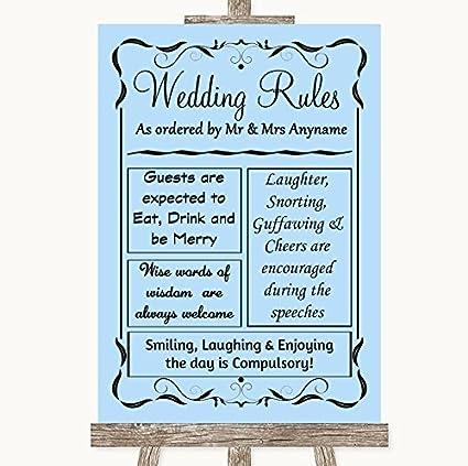 Letrero de boda azul colección azul reglas de la boda cartel ...