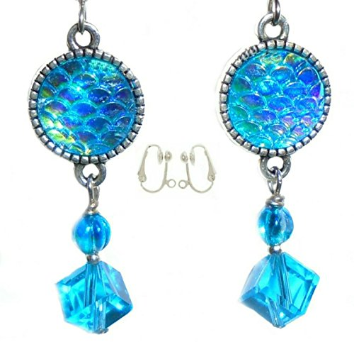 Glass Bead Clip Earrings - Aqua Blue Snakeskin Resin Crystal Glass Bead Earring Set (3. CLIP-ONS Silver Plated Nickel Free (4mm Half Ball)