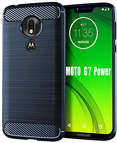 HNHYGETE Moto G7 Power Case,Moto G7 Supra Case, Soft Slim Shockproof Anti-Fingerprint Full Protective Phone Cases for Motorola Moto G7 Power 2019 (Blue)