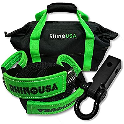 Rhino USA Combo Recovery Tow Strap (20ft) & Shackle Hitch Receiver - Lab Tested 31,518lb Break Strength - Heavy Duty Draw String Bag Included - Triple Reinforced Loop End to Ensure Peace of Mind: Automotive