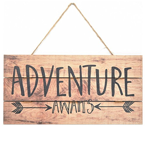 MRC Wood Products Adventure Awaits Rustic Wooden Plank Sign 5×10