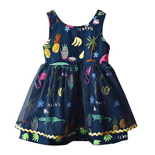 MALLOOM Dress Toddler Kids Baby Girls Clothes Cartoon Print Party Princess Tulle Tutu Navy